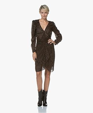 ba&sh Saphir Viscose Chiffon Printed Dress - Natural