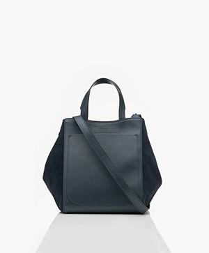 Filippa K Shelby Mini Bucket Leather Bag - Blue Slate