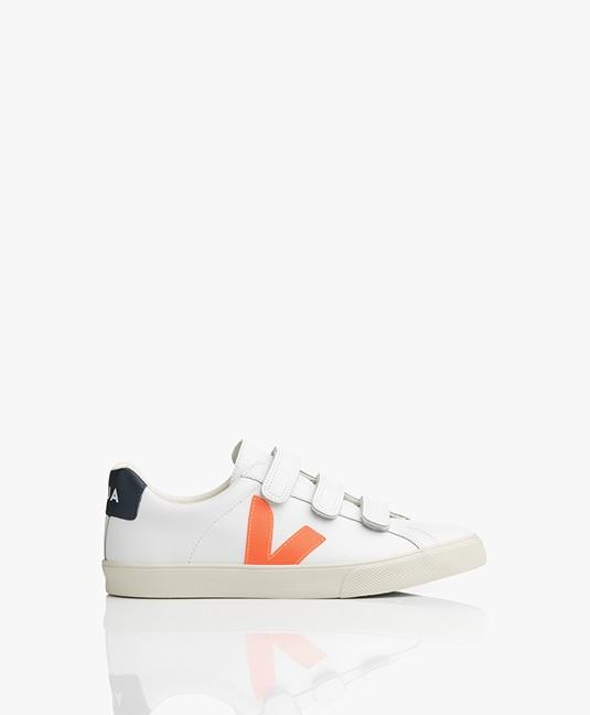 VEJA Esplar 3-Lock Logo Leren Sneakers - Extra Wit/Fluor Oranje/Nautico