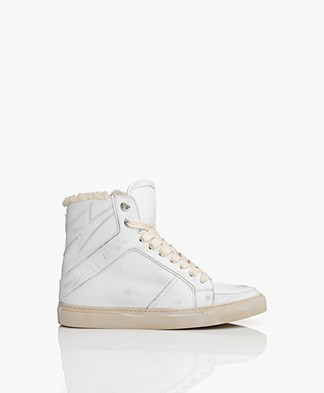 Zadig & Voltaire High Shearling Sneakers - Used White