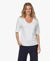 Woman by Earn Hannah Modal V-neck T-shirt - White