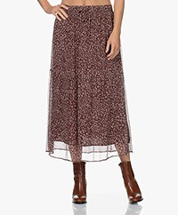 no man's land Crepe Chiffon Maxi Printed Skirt - Wine