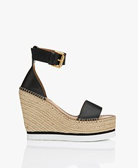 See by Chloé Glyn Calf Skin Wedge Espadrilles - Black