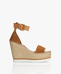 See by Chloé Glyn Suede Wedge Espadrilles - Camel Brown