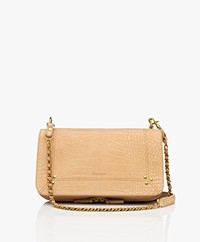 Jerome Dreyfuss Bobi Schouder/Cross-body Tas in Nubuck Kalfsleer - Croco Ficelle