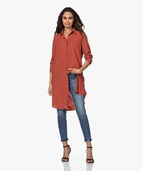 JapanTKY Liya Travel Jersey Shirt Dress - Red Brick