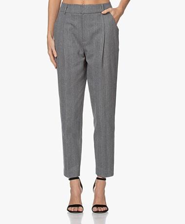 ANINE BING Becky Herringbone Pleated Pants - Grey