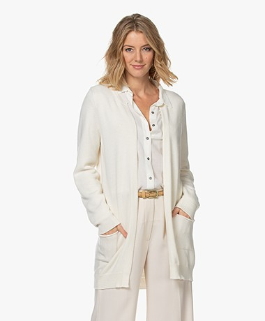 Resort Finest Nobile Cashmere Blend Open Cardigan - Ecru