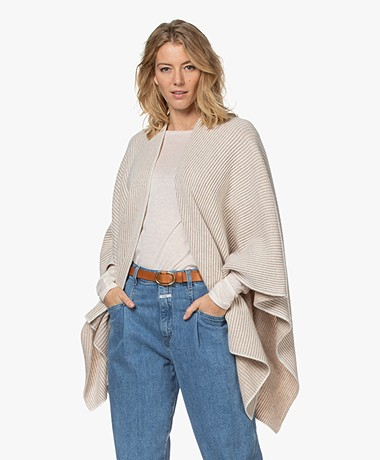 Repeat Knitted Poncho Cardigan - Sand/Cream