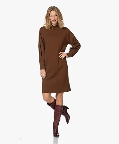 LaSalle Milano Knitted Turtleneck Dress - Choco