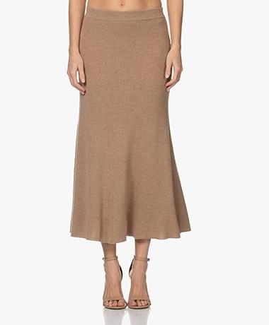 Repeat Knitted Merino Midi Skirt - Camel