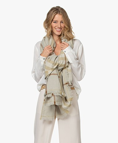 Woman by Earn Caro Checkered Wool Scarf - Sand