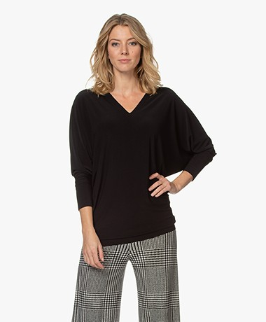 Norma Kamali Tech Jersey V-neck Long Sleeve - Black