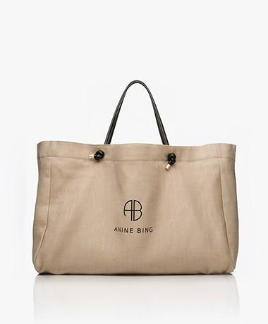 ANINE BING Saffron XL Linen Shopper - Beige