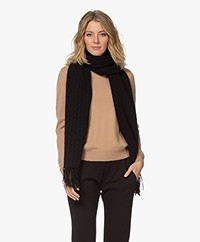 Repeat Luxury Cashmere Scarf with Suede Fringes - Black
