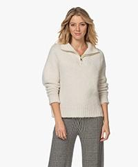 ba&sh Calla Alpaca Blend Turtleneck Zip Sweater - Ecru