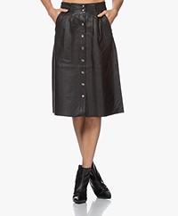ba&sh Pheebe Lamb Skin A-line Skirt - Black