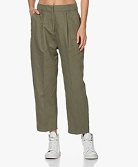 Denham Galloway Linen Blend Loose-fit Pants - Army Green