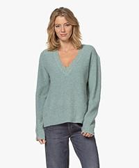 Rag & Bone Pierce Cashmere V-neck Sweater - Green Mélange