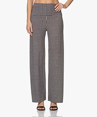 Norma Kamali Tech Jersey Glenn Check Printed Pants - Black/Off-white