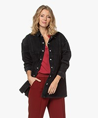 IRO Bandini Long Denim Shirt Jacket - Washed Black