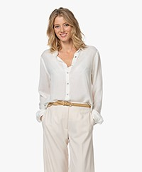 Pomandère Viscose Blend Twill Blouse - Off-white