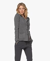 Belluna Twister Merino Wool Blend Jacquard Blazer Cardigan - Anthracite/Grey