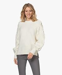 Les Coyotes de Paris Suze Cable Knit Sleeve Sweater - Off-white