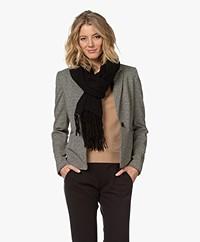 Repeat Luxury Cashmere Sjaal met Suède Franjes - Zwart
