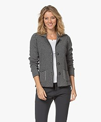 Belluna Twister Merino Wool Blend Jacquard Blazer Cardigan - Anthracite/Grey