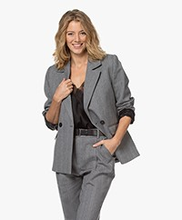 ANINE BING Becky Double-breasted Herringbone Blazer - Grey