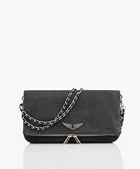 Zadig & Voltaire Rock Suede Shoulder Bag/Clutch - Beu De Gris