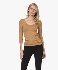 Majestic Filatures Soft Touch Cropped Sleeve T-shirt - Chamois