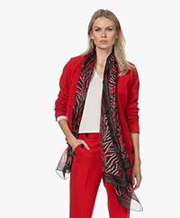 KYRA Rosy Silk Chiffon Printed Scarf - Amarena Red