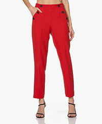KYRA Liza Twill High-waist Pants - Amarena Red