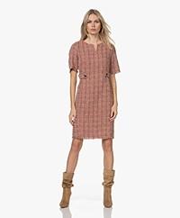 KYRA Tine Bouclé Short Sleeve Dress - Amarena Red