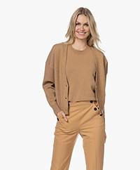 by-bar Vera Modal Mix Button-through Cardigan - Camel
