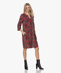 KYRA Valencia Viscose Print Dress - Amarena Red