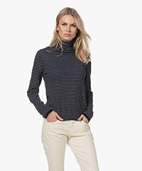 Majestic Filatures Striped Cashmere Turtleneck Sweater - Marine/Grey Melange