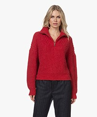 ba&sh Beltan Chunky Knitted Sweater with Zipper - Red