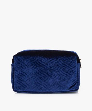 &Klevering Velvet Toiletry Bag - Embroidery Blue