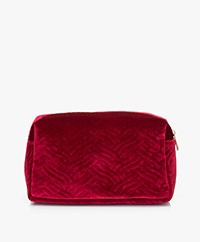 &Klevering Velvet Toiletry Bag - Embroidery Red