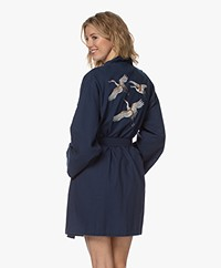 HAMMAM34 Cranes Embroidered Cotton Kimono - Navy