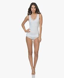 HANRO Cotton Lace V-neck Top - White