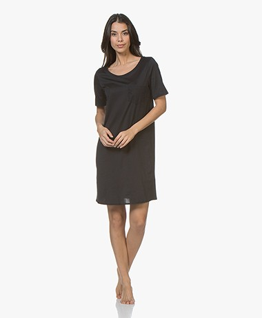 HANRO Cotton Deluxe Jersey Nightshirt - Black