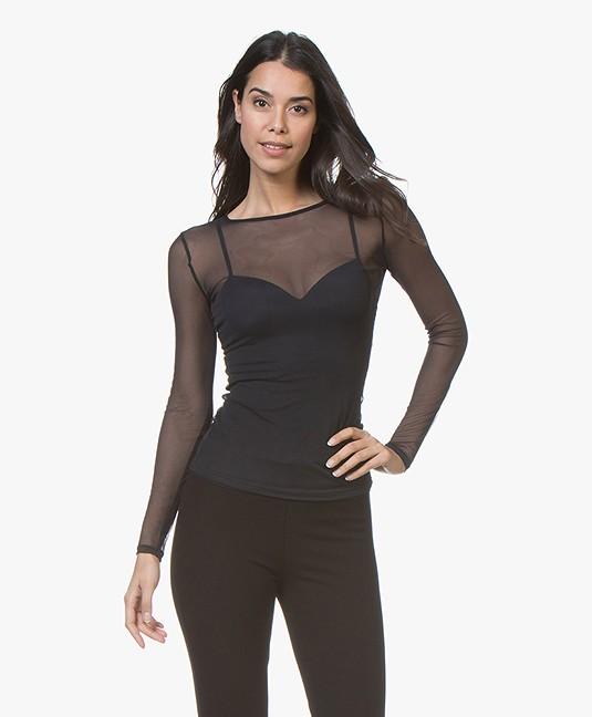HANRO Smooth Illusion Tule Longsleeve T-shirt - Zwart