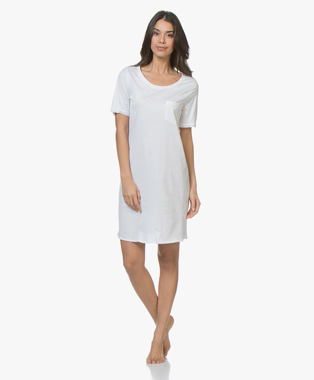 096b060720 HANRO Cotton Deluxe Jersey Nightshirt - White - s slv nightdress ...