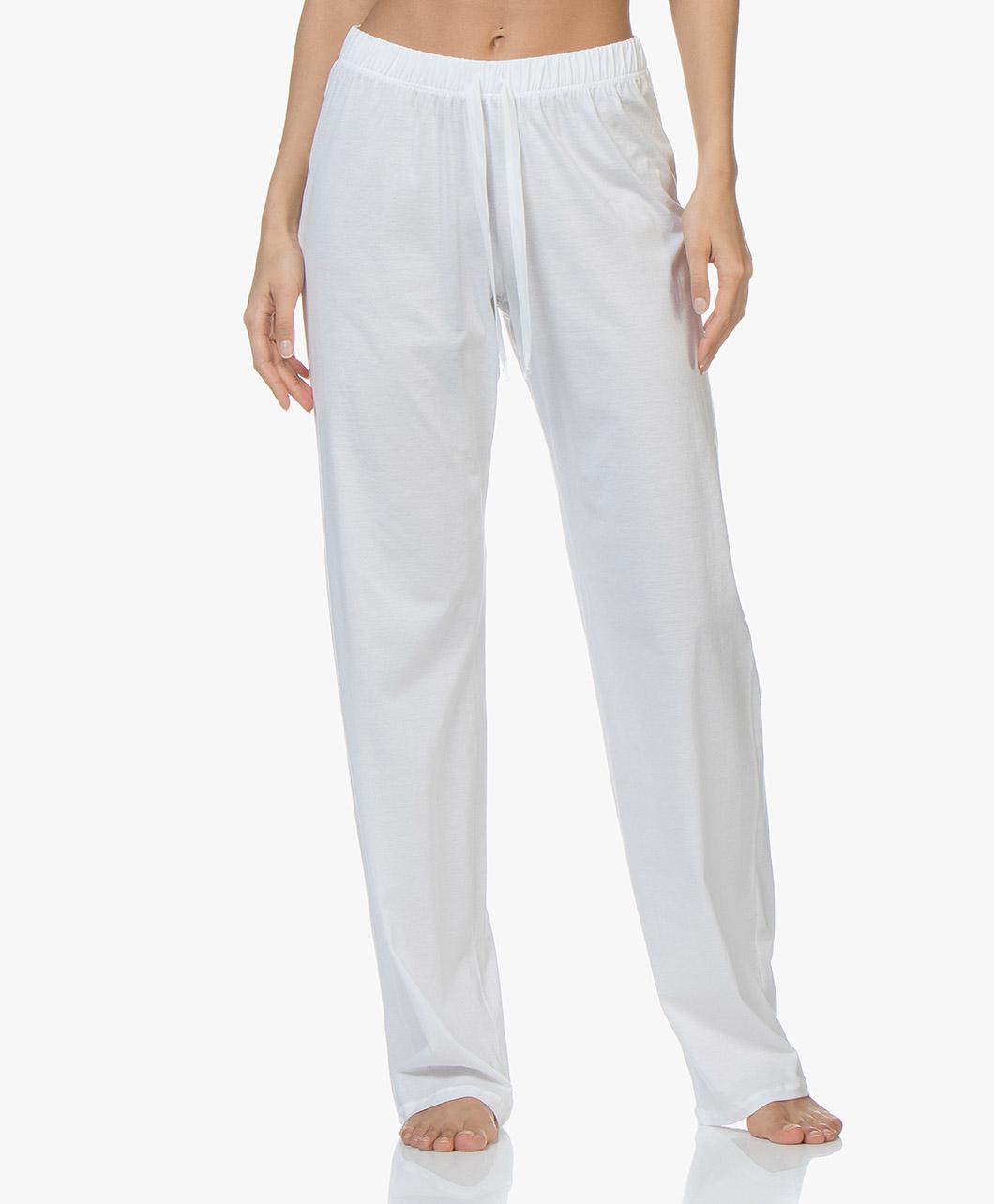 HANRO Cotton Deluxe Jersey Pajama Pants White long pants