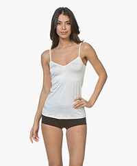 HANRO Satin Deluxe Spaghetti Strap Top - Off-white