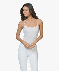 HANRO Cotton Seamless R-neck Spaghetti Strap Top - White